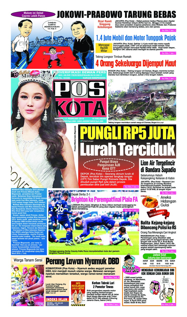 Pos Kota Digital Newspaper 17 February 2019