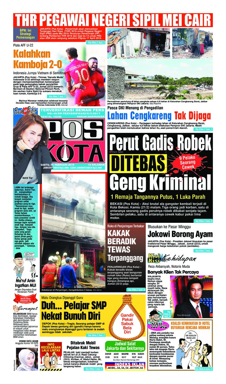 Pos Kota Digital Newspaper 23 February 2019