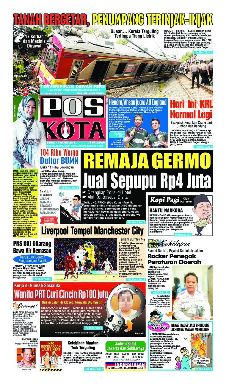 Koran Digital Pos Kota 11 Maret 2019