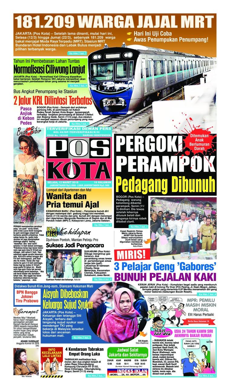 Koran Digital Pos Kota 12 Maret 2019