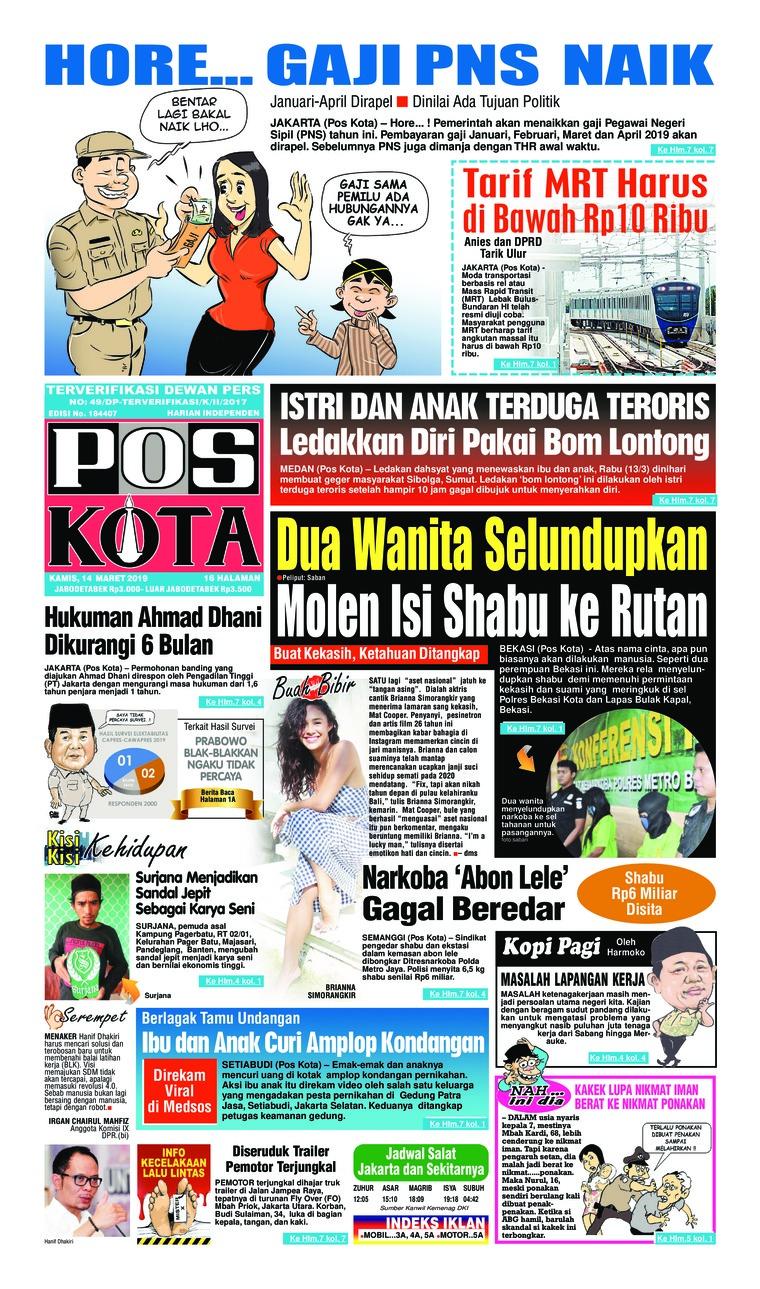 Koran Digital Pos Kota 14 Maret 2019
