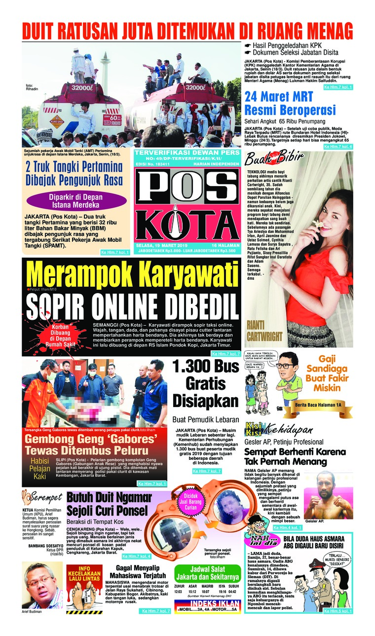 Pos Kota Digital Newspaper 19 March 2019
