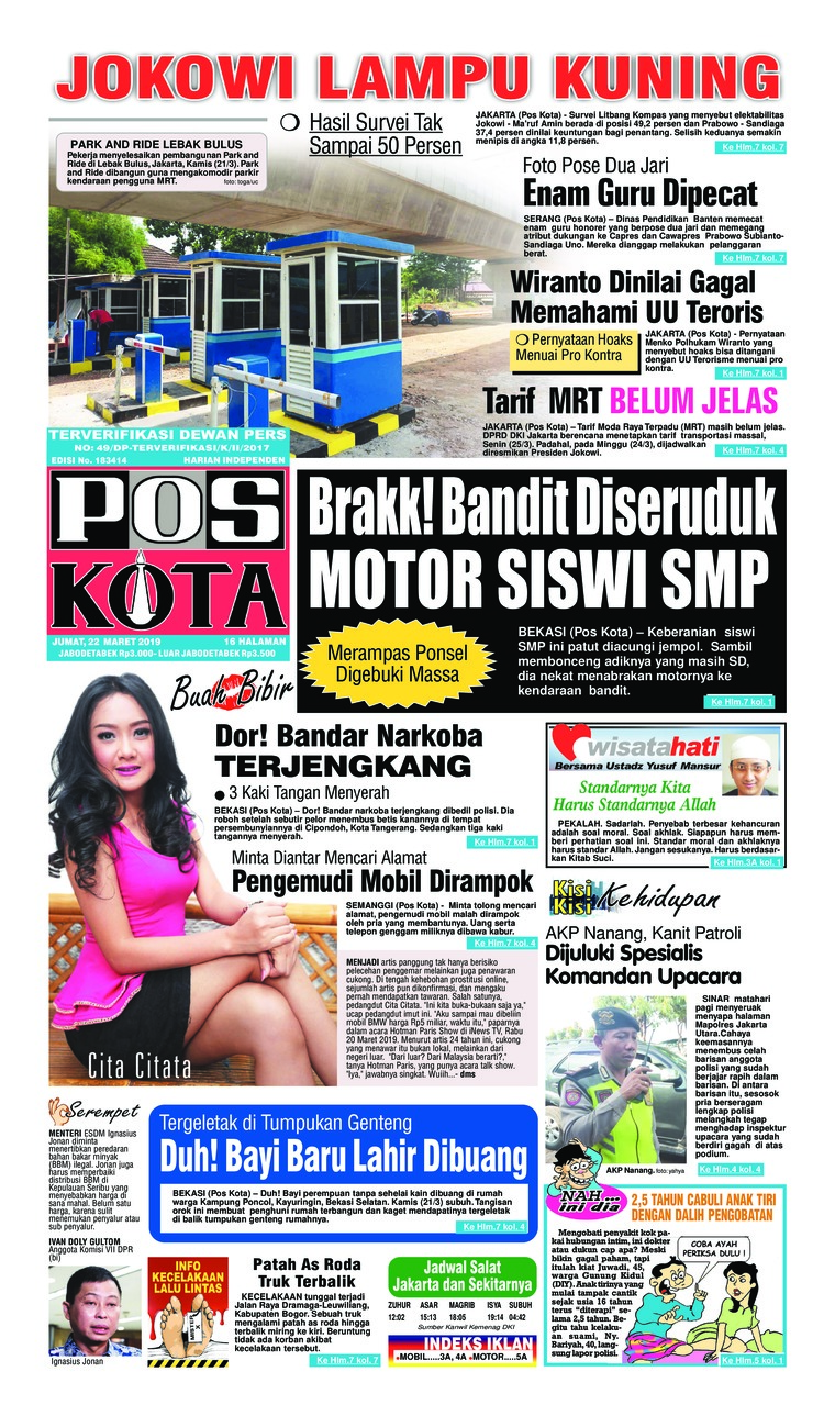 Pos Kota Digital Newspaper 22 March 2019