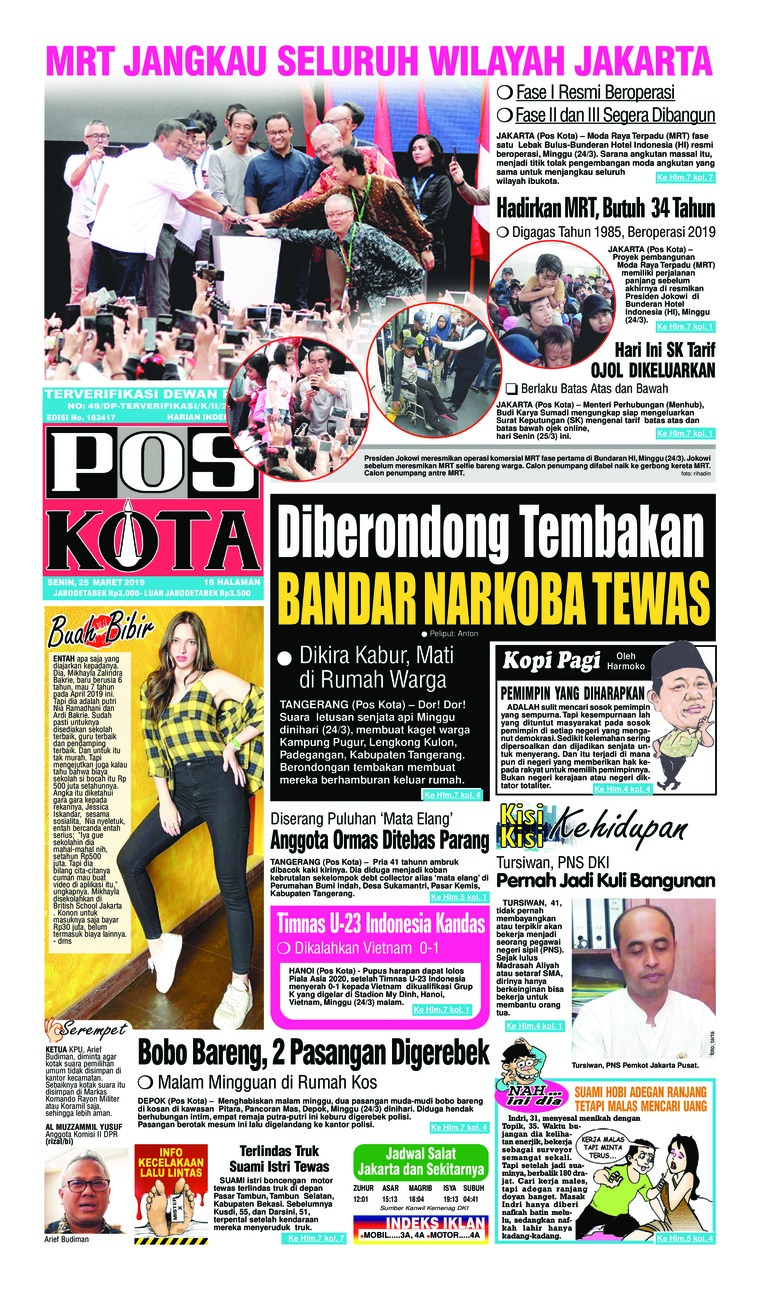 Pos Kota Digital Newspaper 25 March 2019