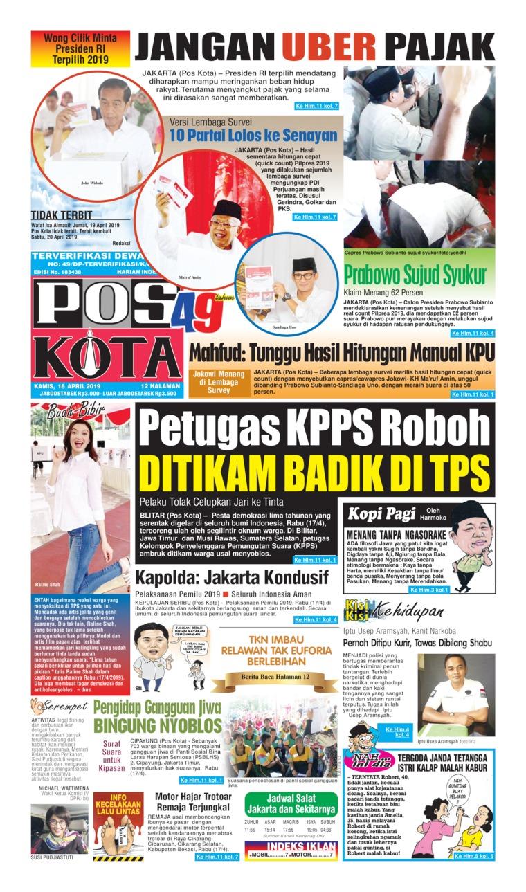 Koran Digital Pos Kota 18 April 2019