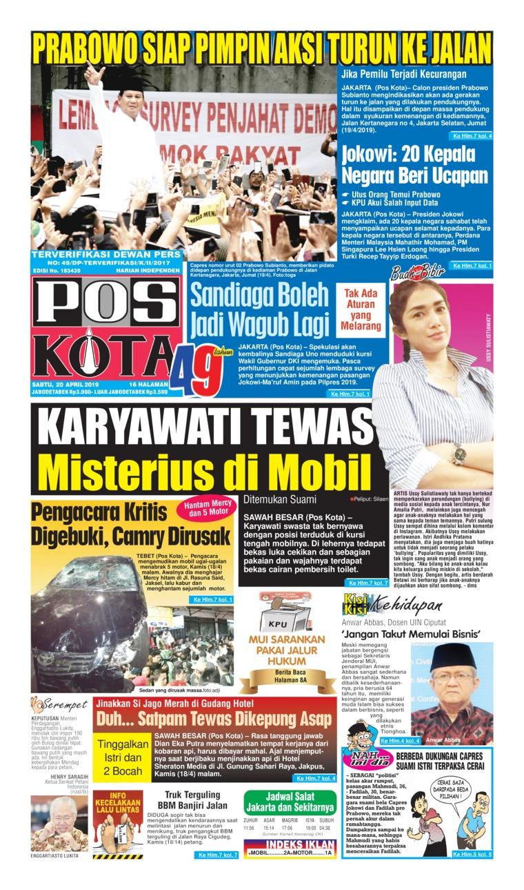 Koran Digital Pos Kota 20 April 2019