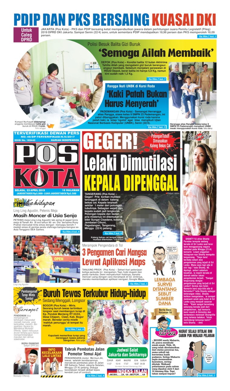 Koran Digital Pos Kota 23 April 2019