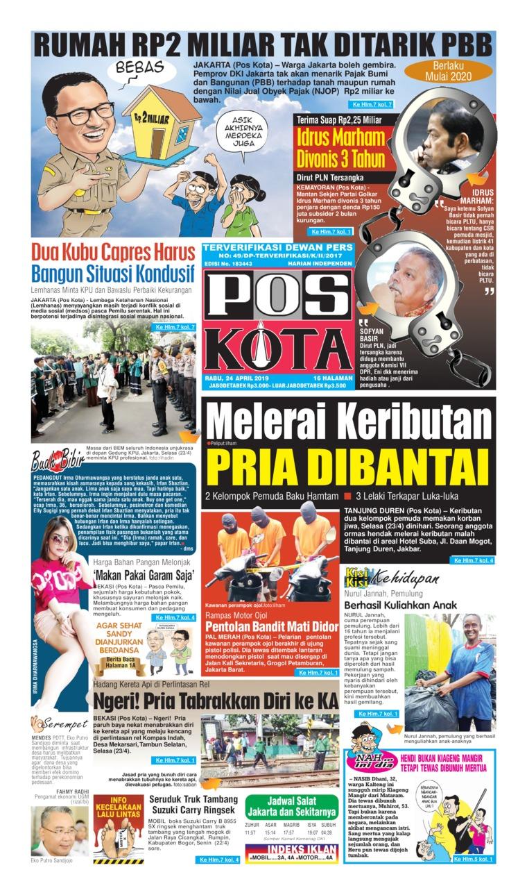 Pos Kota Digital Newspaper 24 April 2019