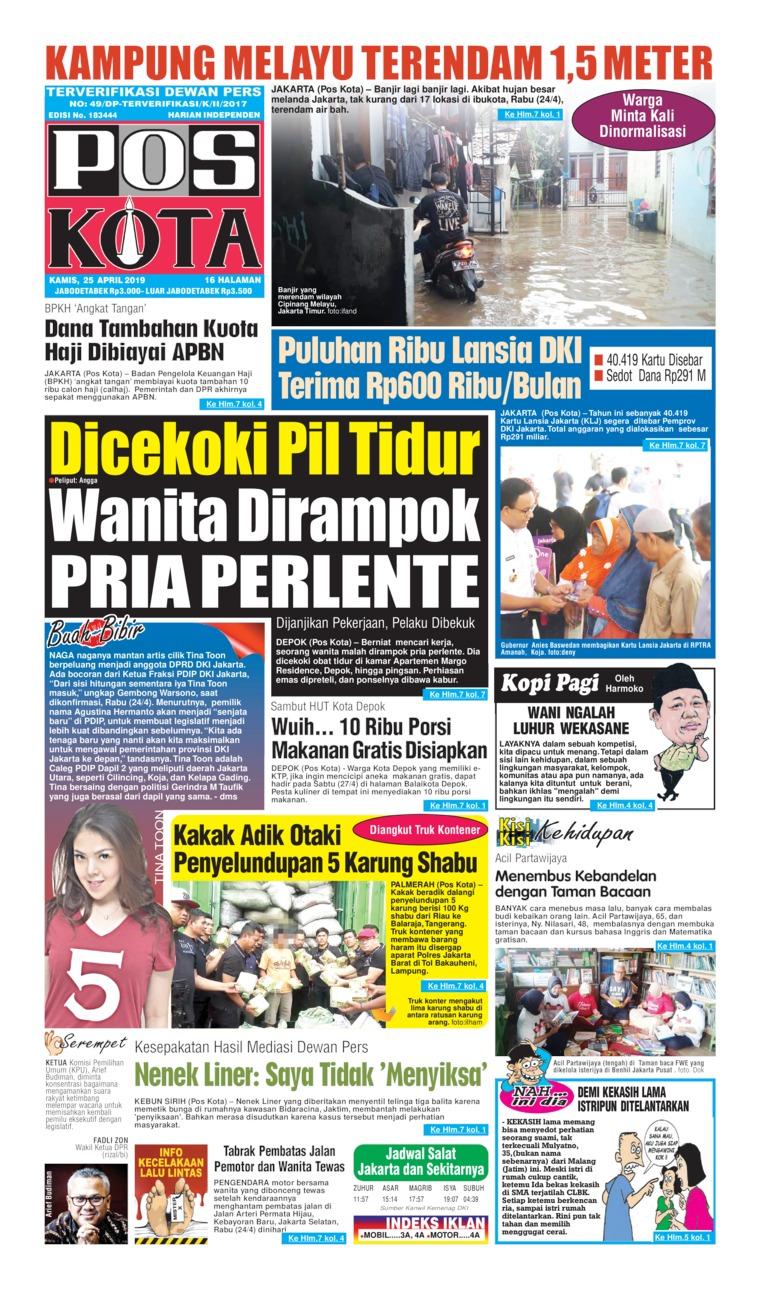 Pos Kota Digital Newspaper 25 April 2019