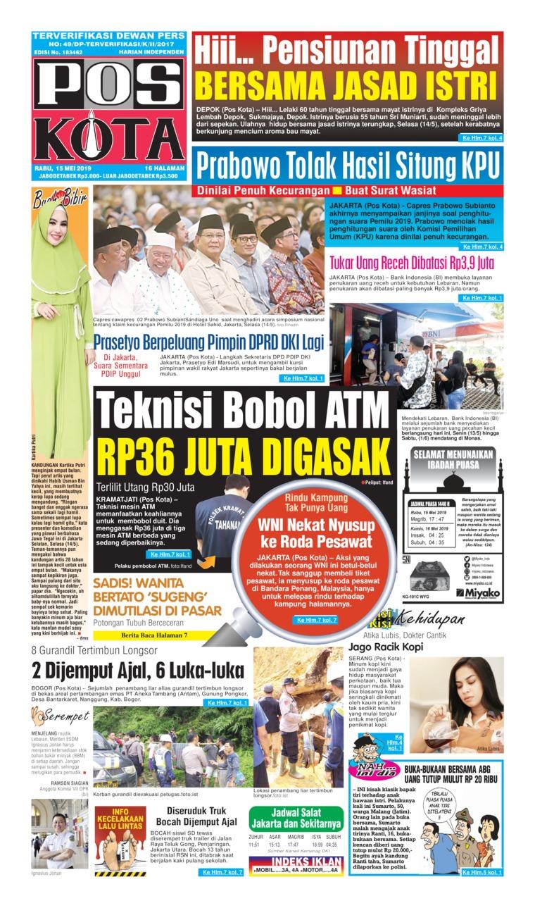 Pos Kota Digital Newspaper 15 May 2019