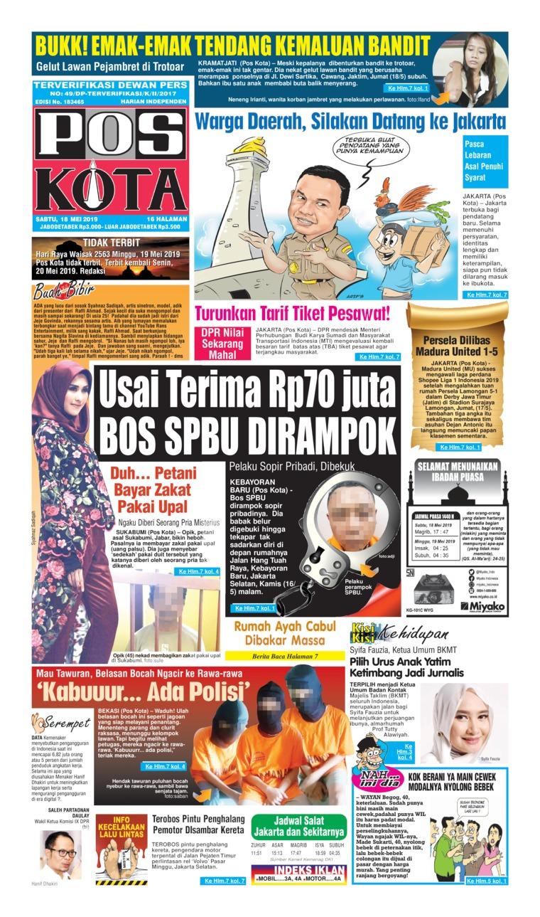 Pos Kota Digital Newspaper 18 May 2019