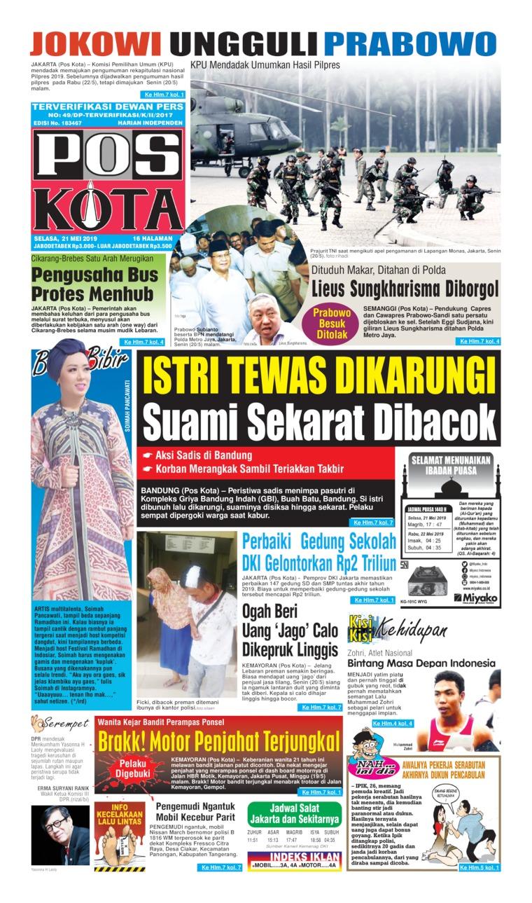 Pos Kota Digital Newspaper 21 May 2019