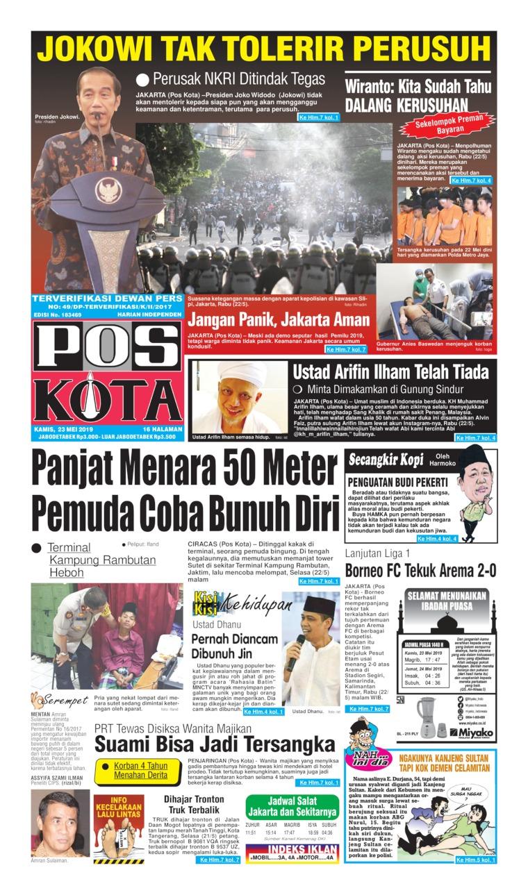 Koran Digital Pos Kota 23 Mei 2019