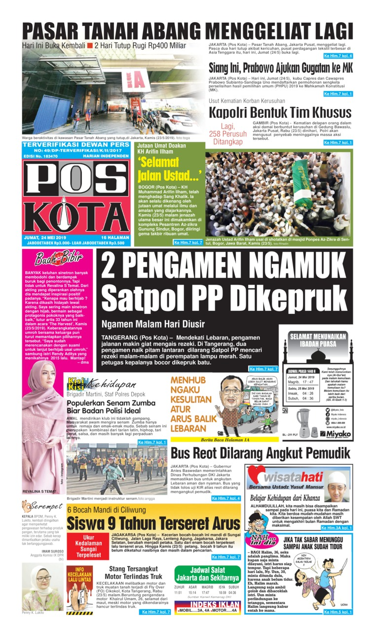 Pos Kota Digital Newspaper 24 May 2019