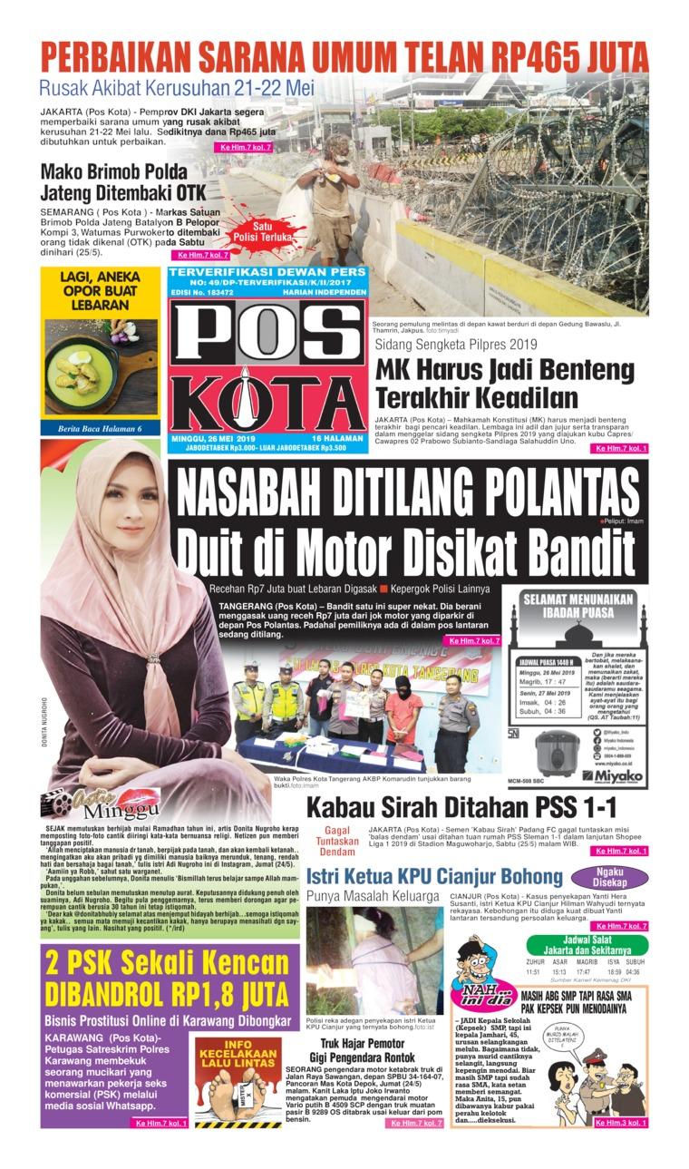 Koran Digital Pos Kota 26 Mei 2019