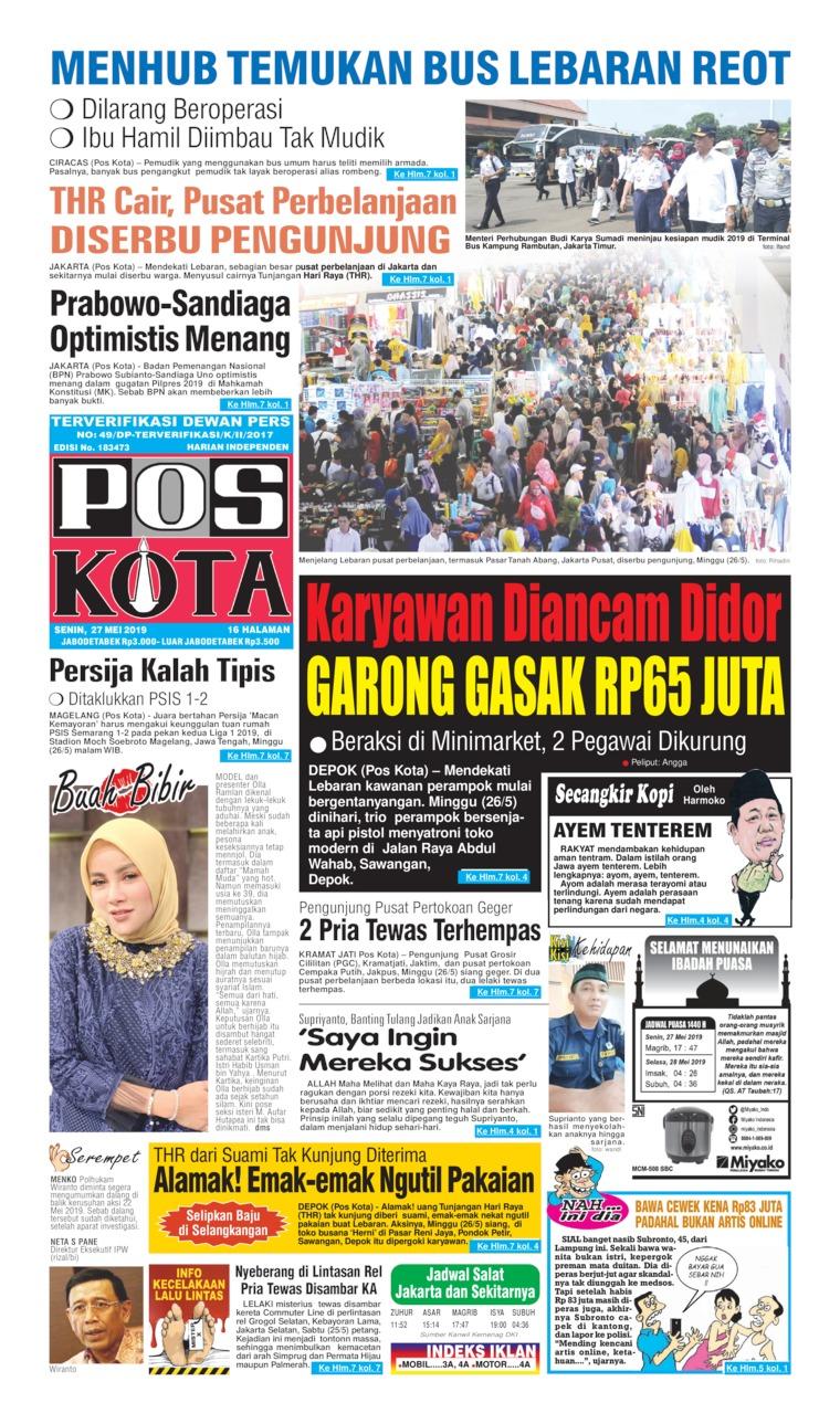 Koran Digital Pos Kota 27 Mei 2019