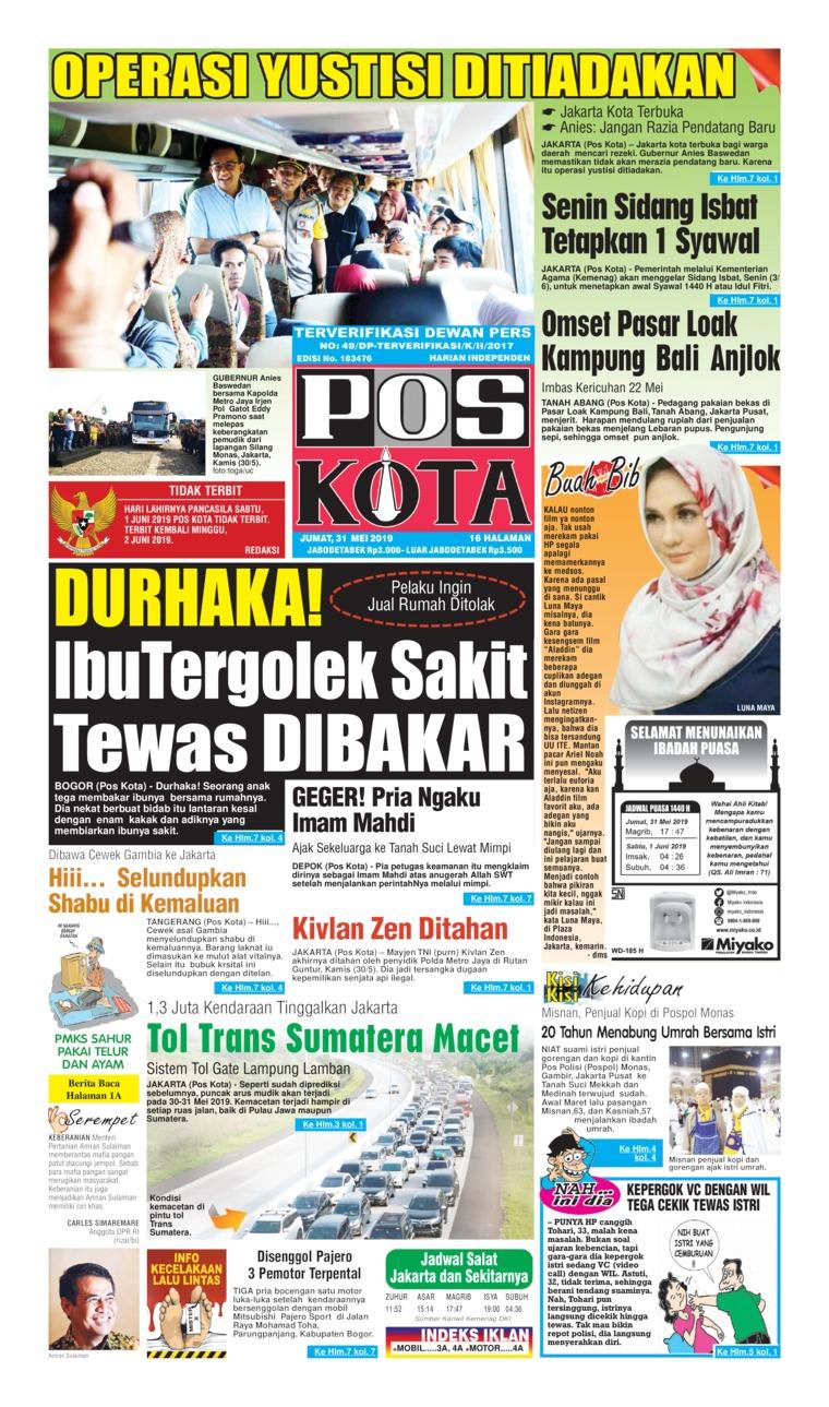 Koran Digital Pos Kota 31 Mei 2019