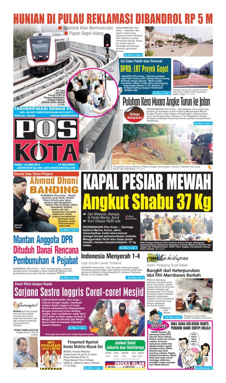 Jual Koran Pos Kota 12 Juni 2019 - Gramedia Digital Indonesia