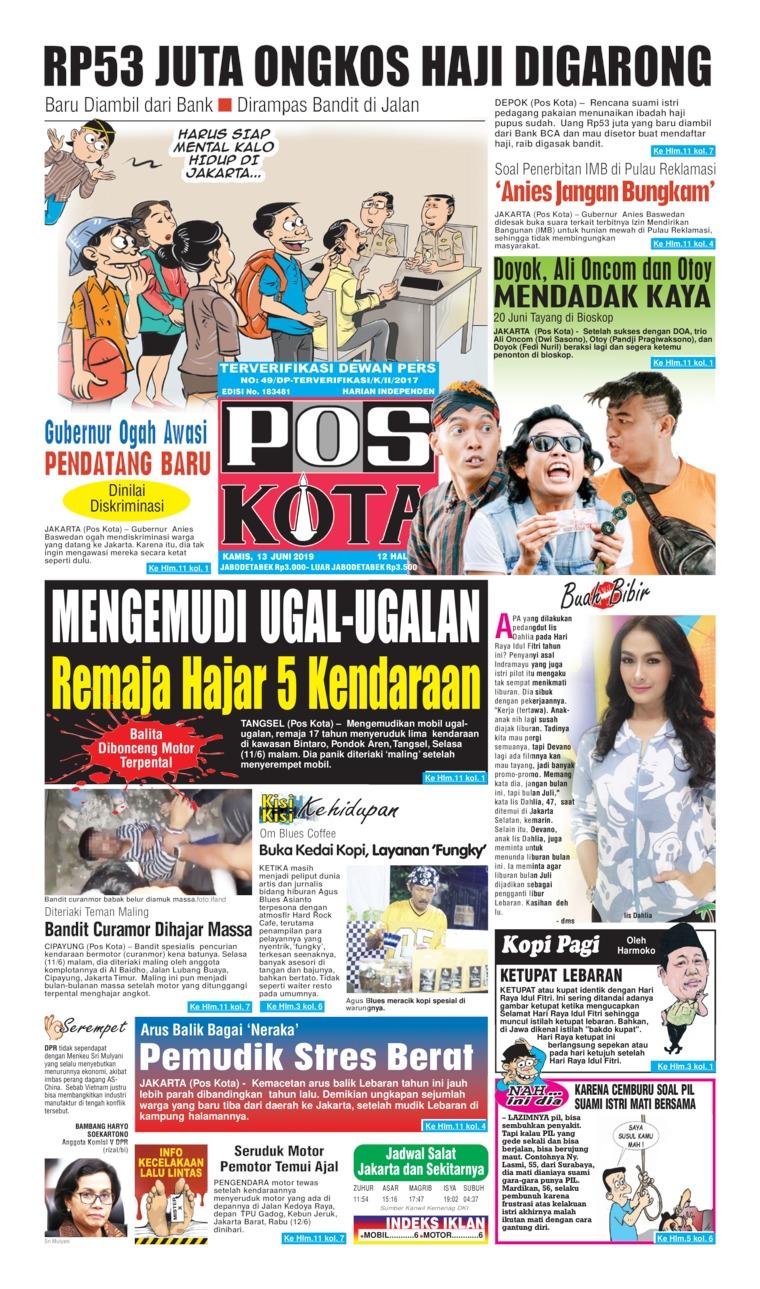 Pos Kota Digital Newspaper 13 June 2019