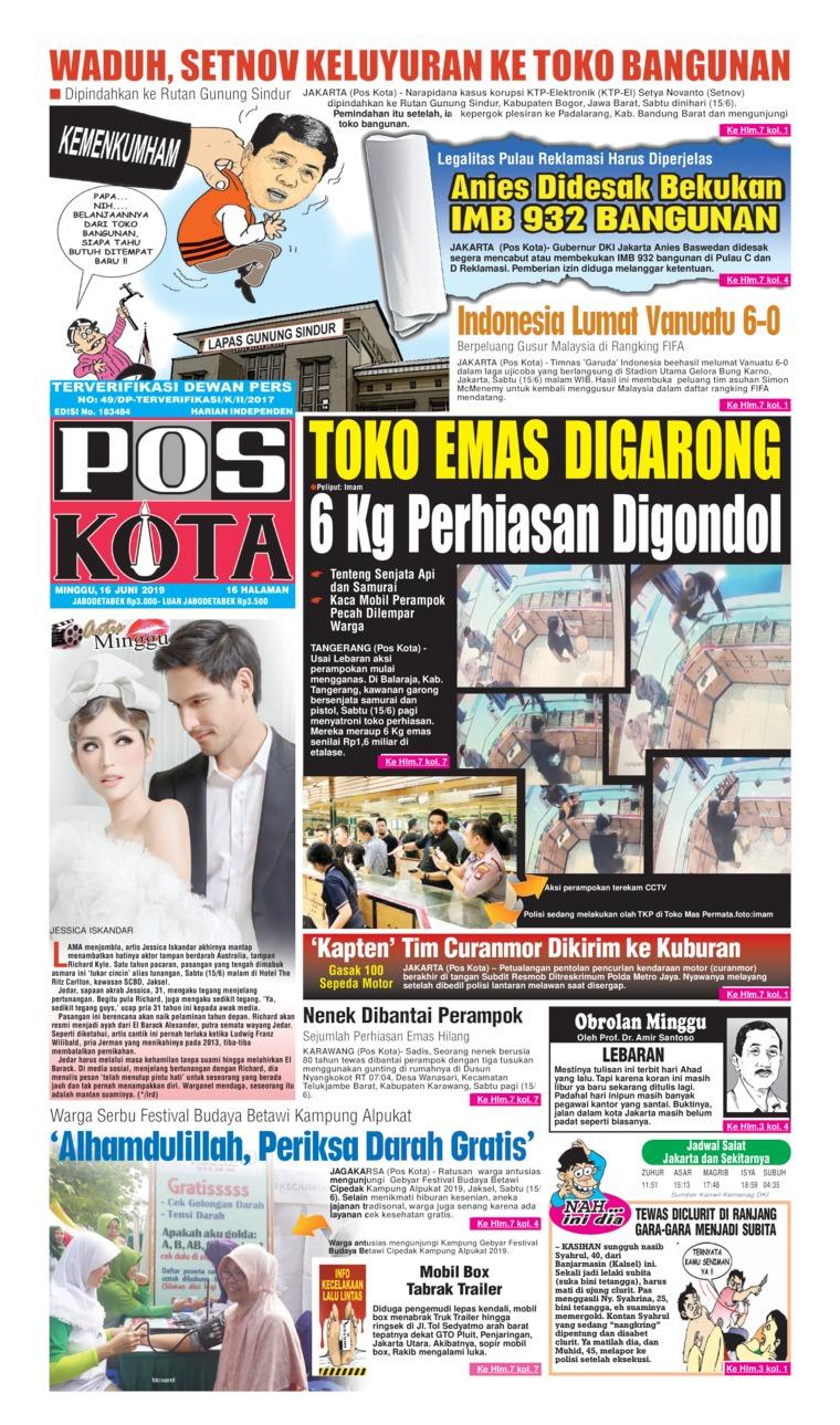 Pos Kota Digital Newspaper 16 June 2019