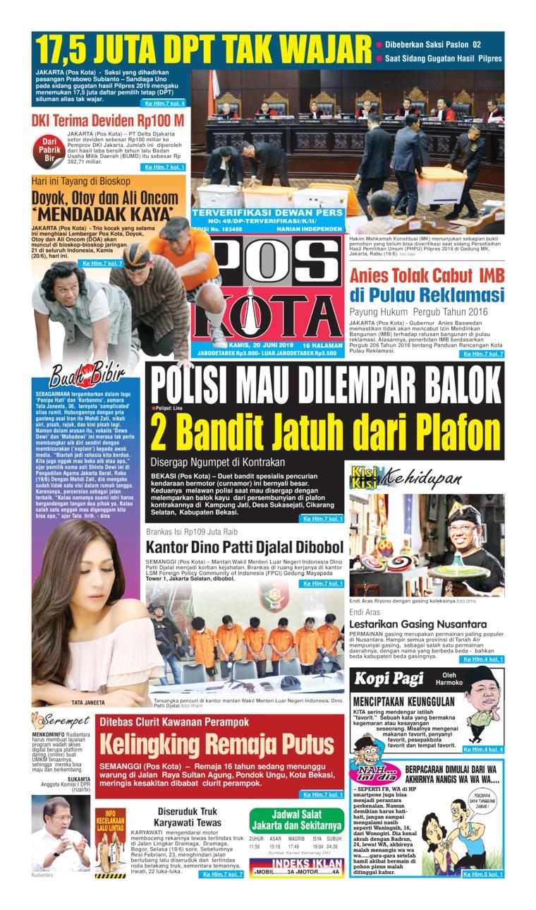 Koran Digital Pos Kota 20 Juni 2019