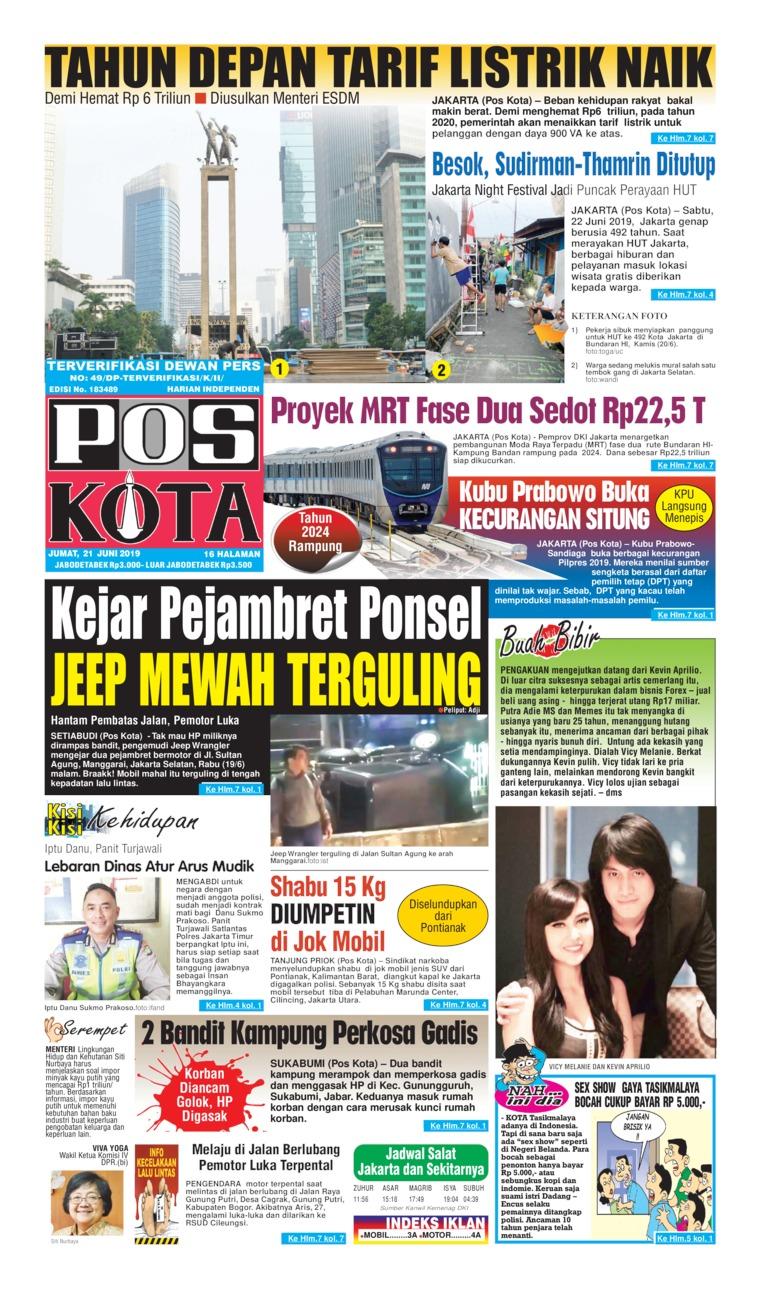 Koran Digital Pos Kota 21 Juni 2019