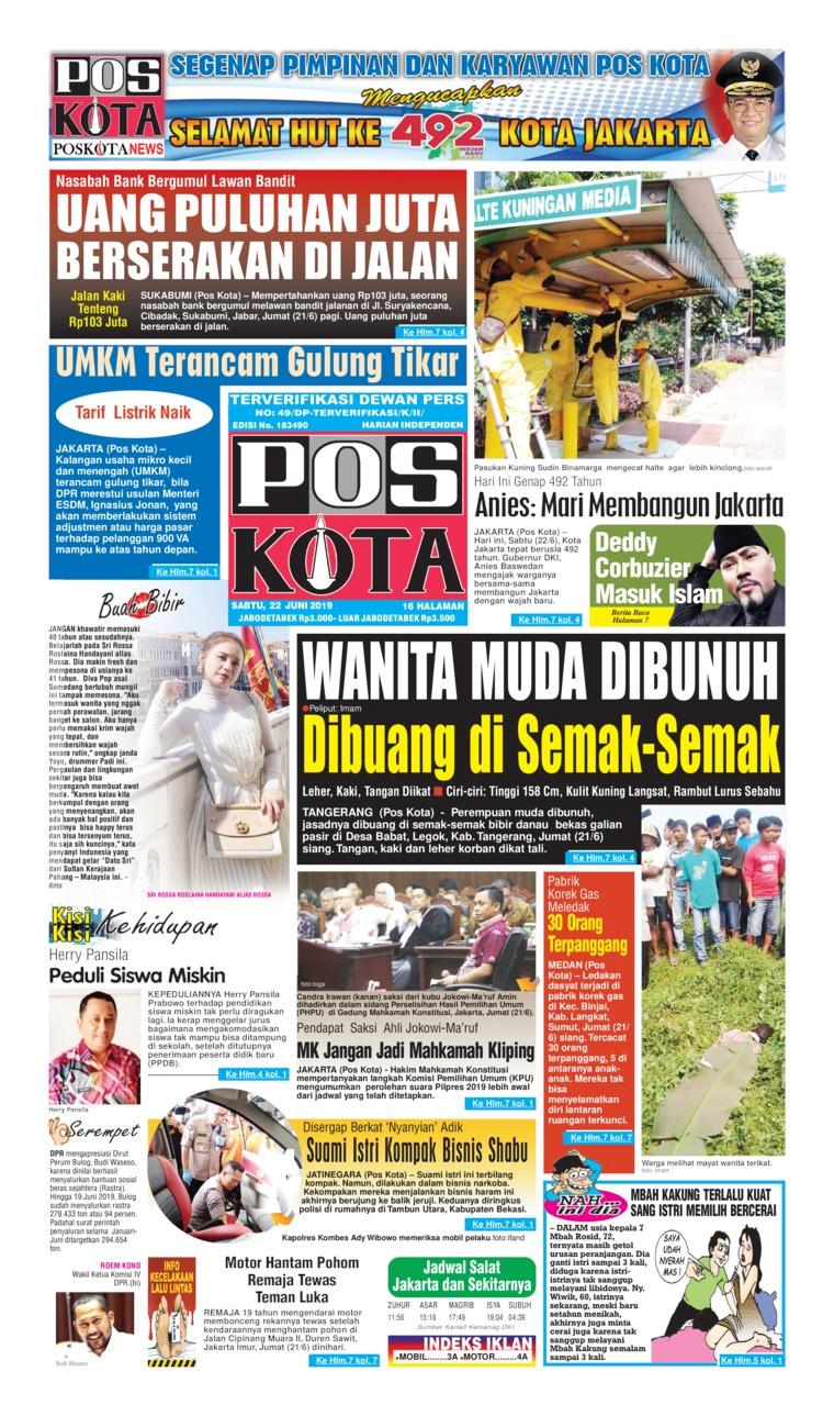Koran Digital Pos Kota 22 Juni 2019
