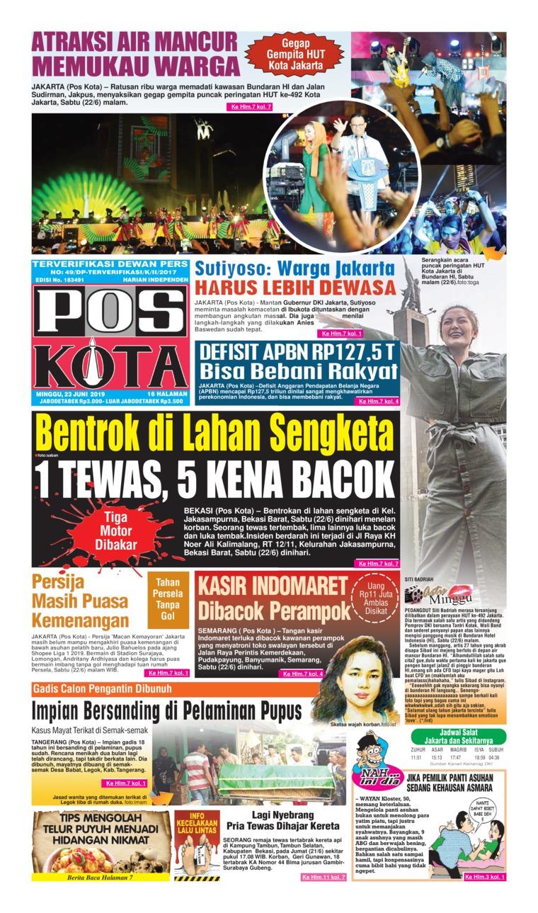 Koran Digital Pos Kota 23 Juni 2019