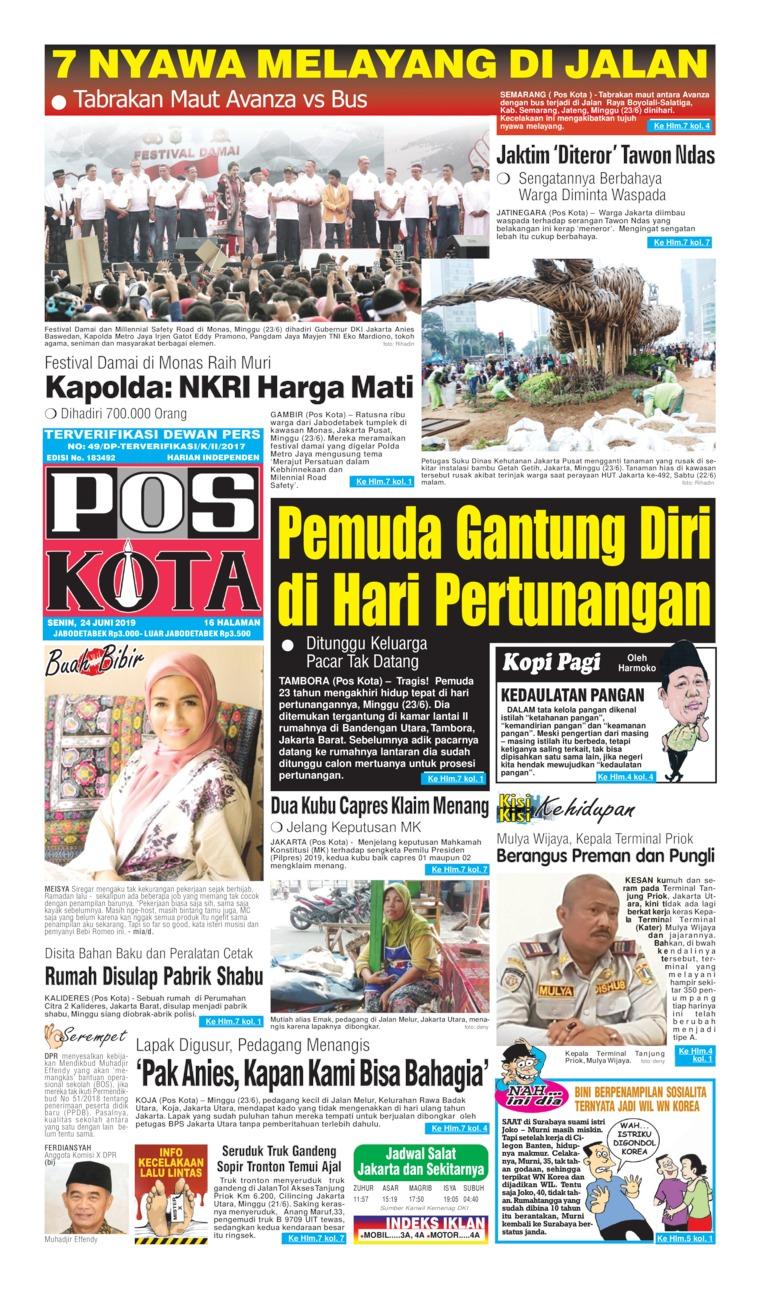 Koran Digital Pos Kota 24 Juni 2019
