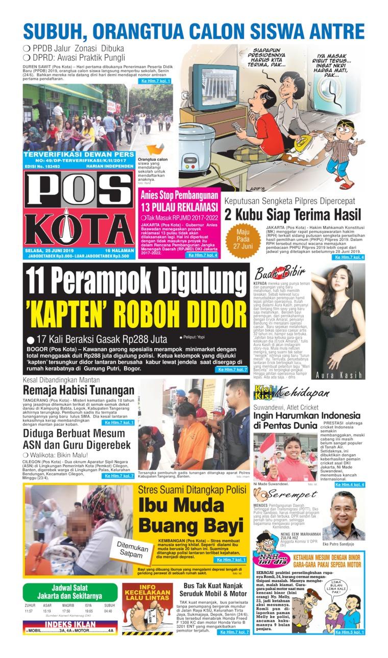 Koran Digital Pos Kota 25 Juni 2019