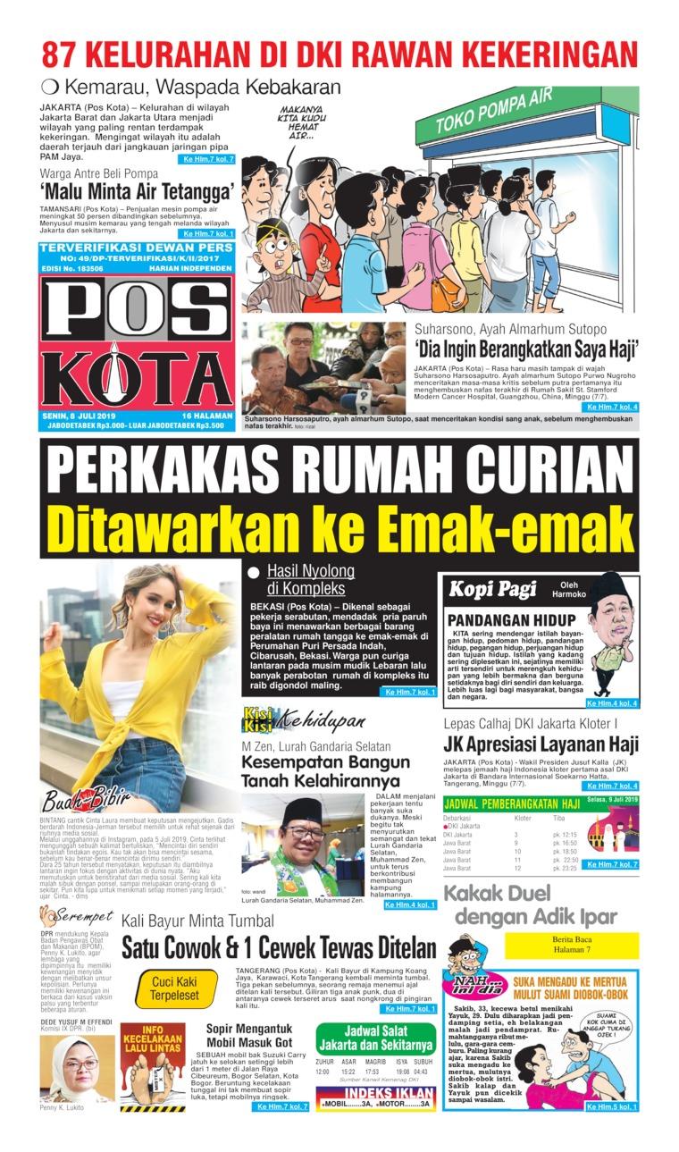 Koran Digital Pos Kota 08 Juli 2019