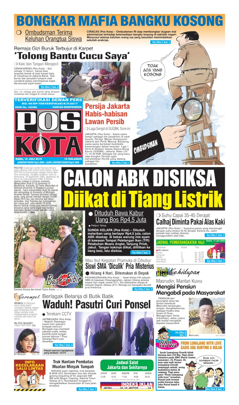 Koran Digital Pos Kota 10 Juli 2019