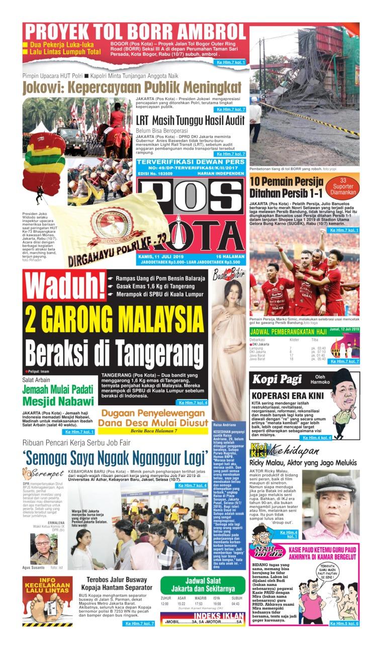 Koran Digital Pos Kota 11 Juli 2019