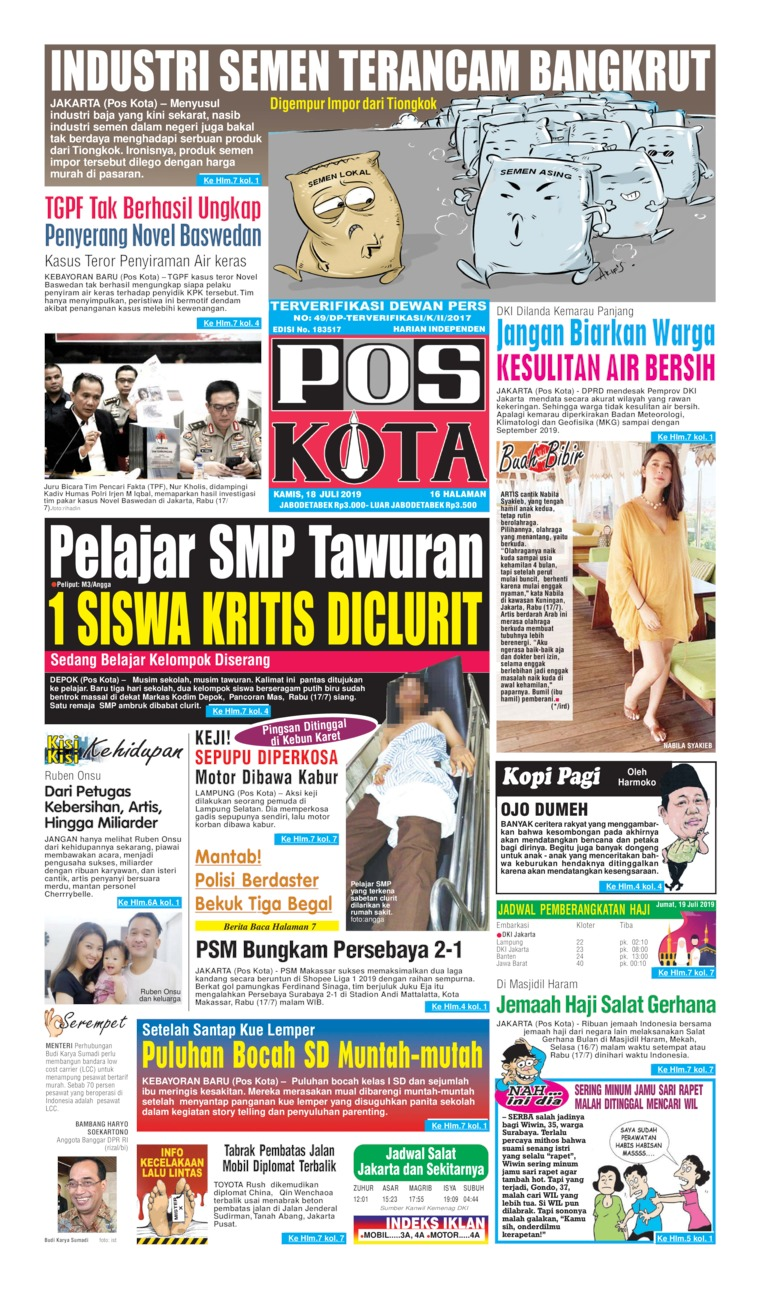 Pos Kota Digital Newspaper 18 July 2019