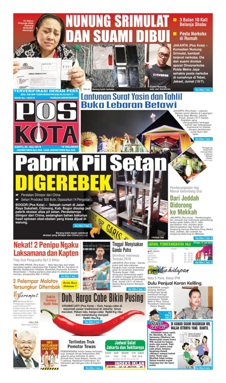 Pos Kota Digital Newspaper 20 July 2019