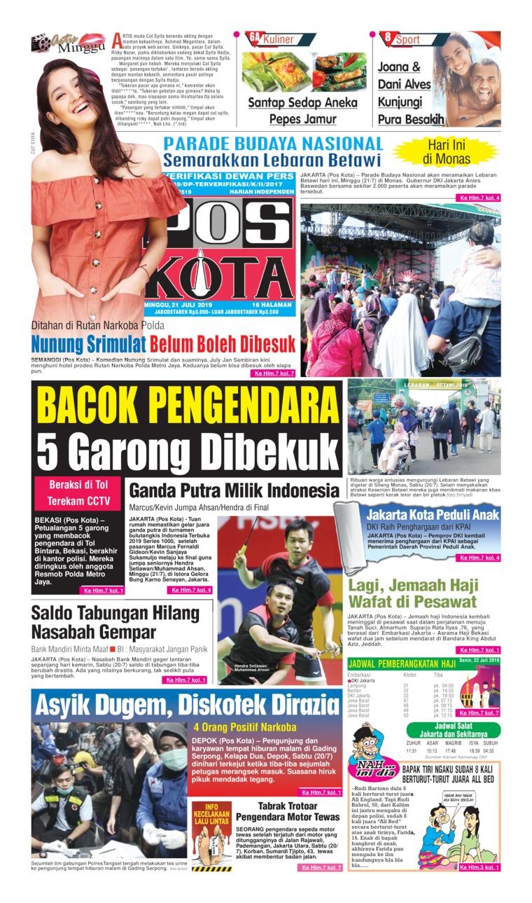Koran Digital Pos Kota 21 Juli 2019
