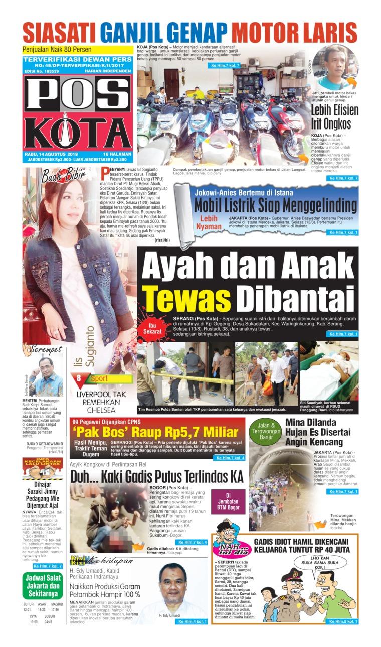 Koran Digital Pos Kota 14 Agustus 2019