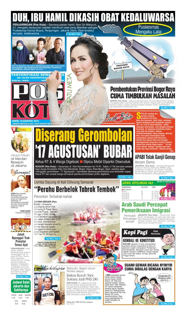 Pos Kota Digital Newspaper 19 August 2019