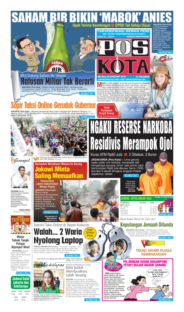 Koran Digital Pos Kota 20 Agustus 2019