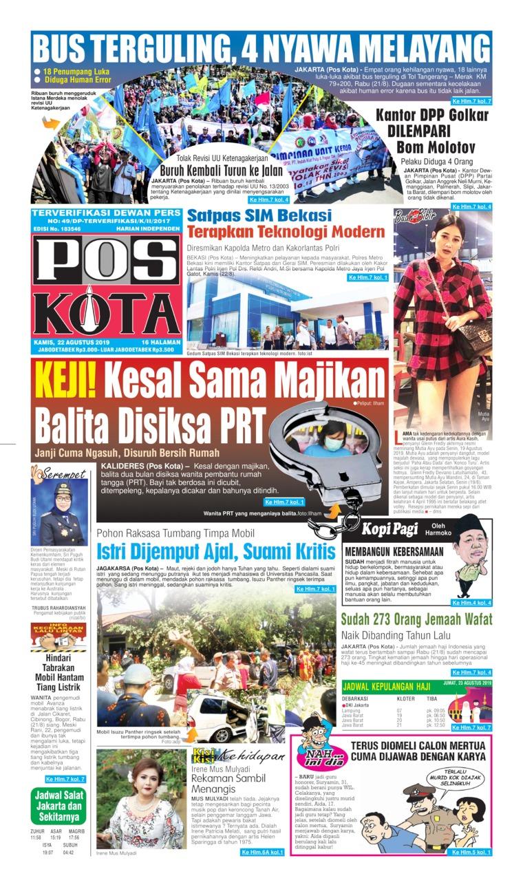 Koran Digital Pos Kota 22 Agustus 2019