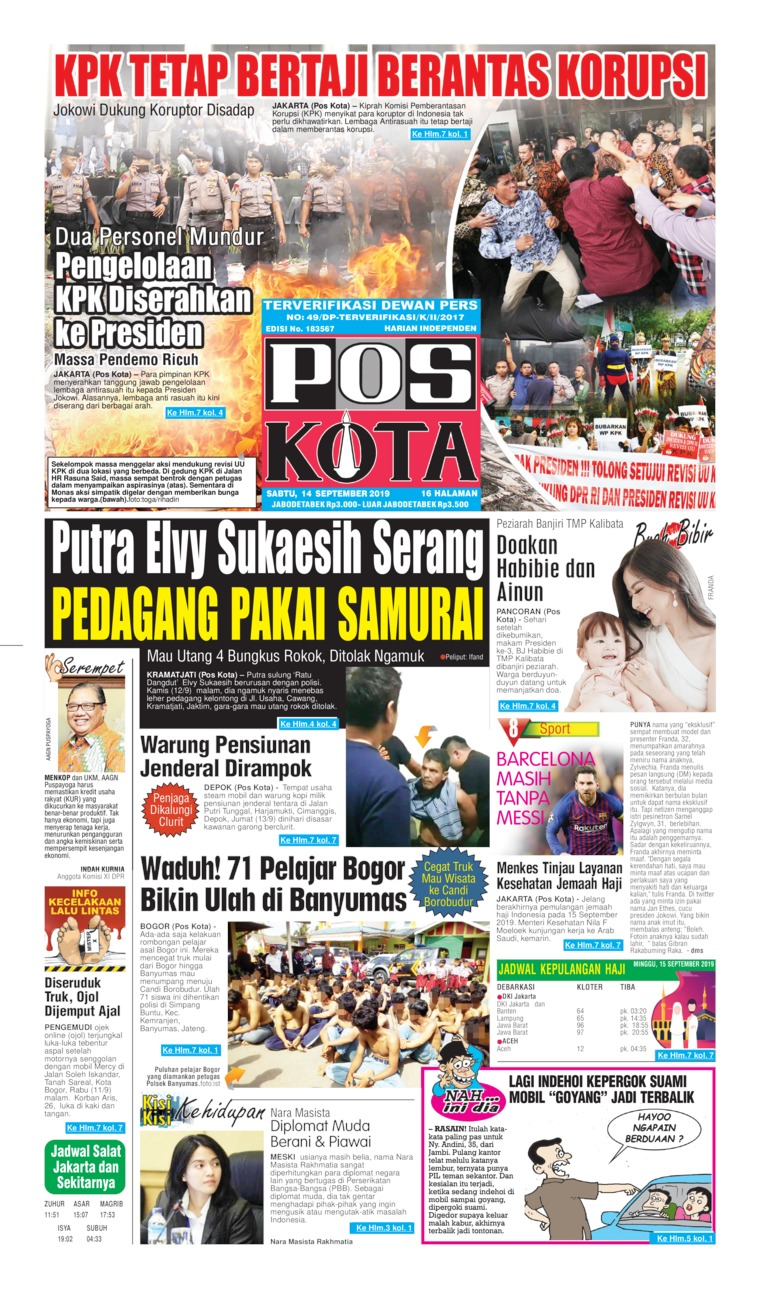 Koran Digital Pos Kota 14 September 2019