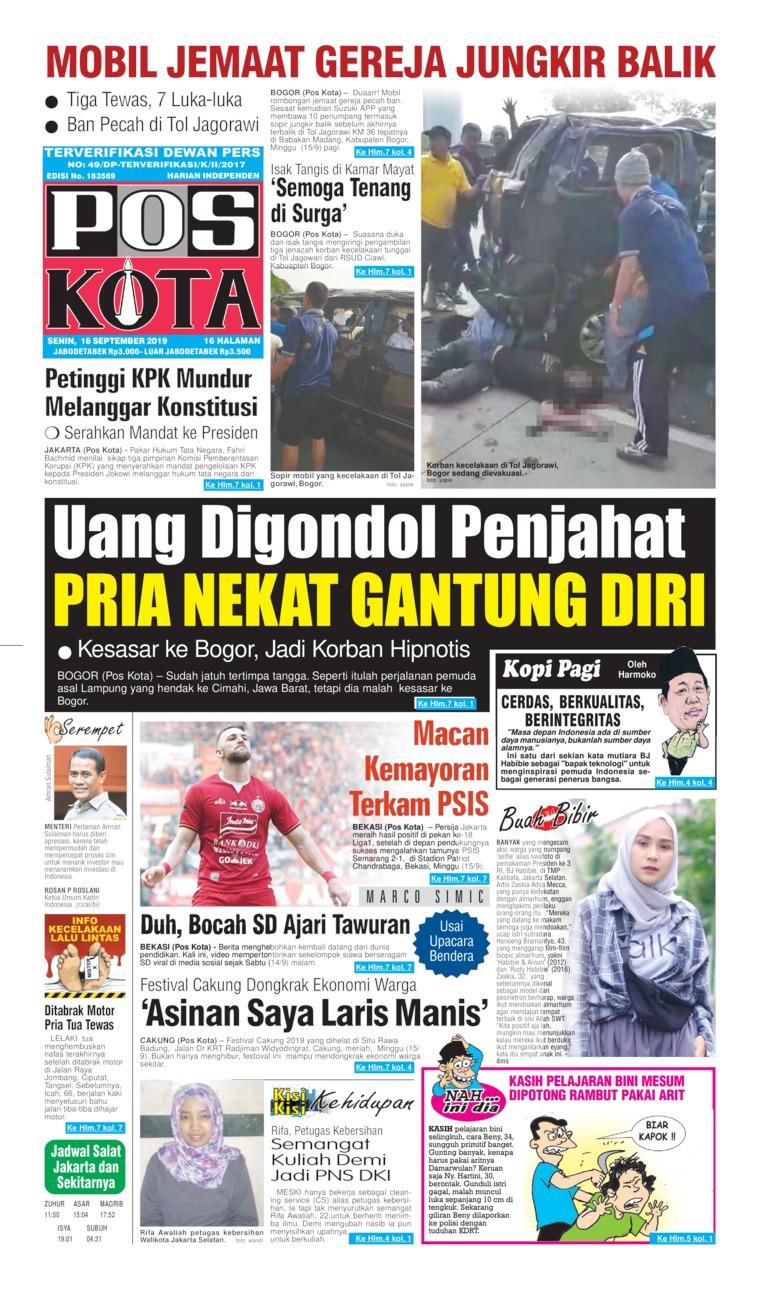 Pos Kota Digital Newspaper 16 September 2019