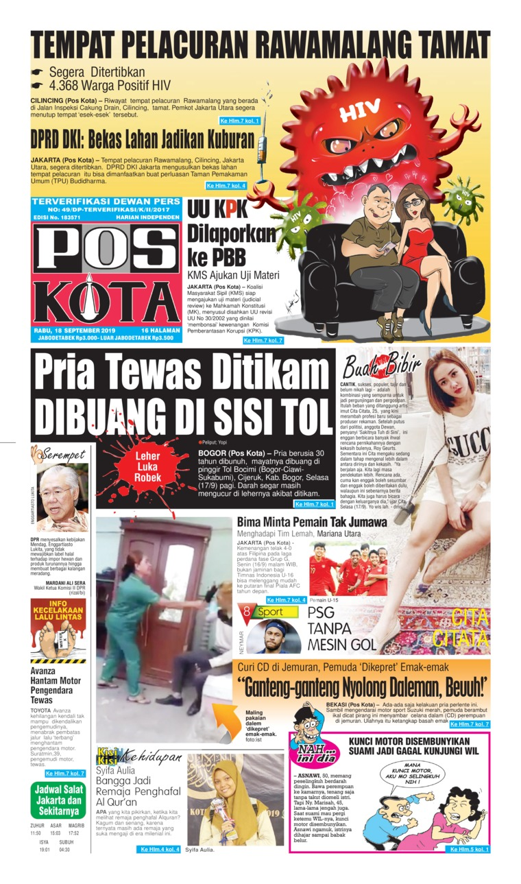 Koran Digital Pos Kota 18 September 2019