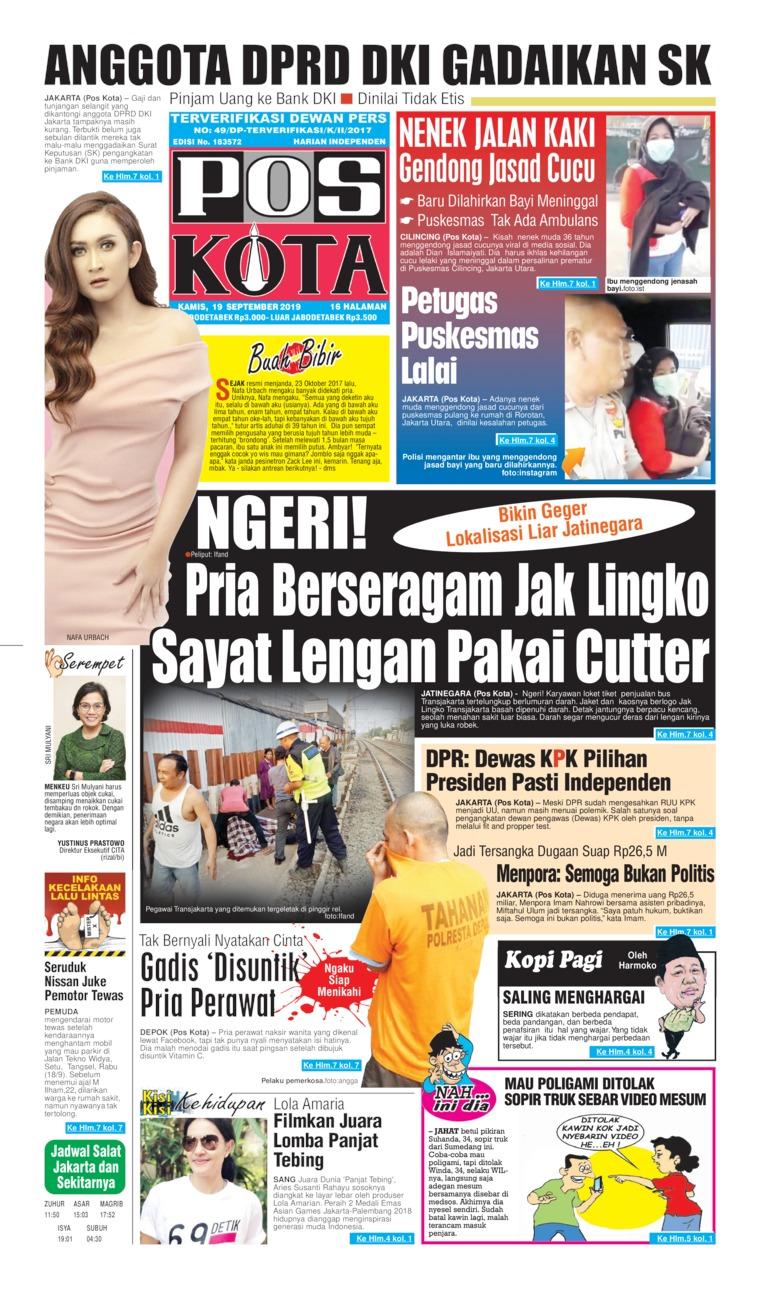 Koran Digital Pos Kota 19 September 2019
