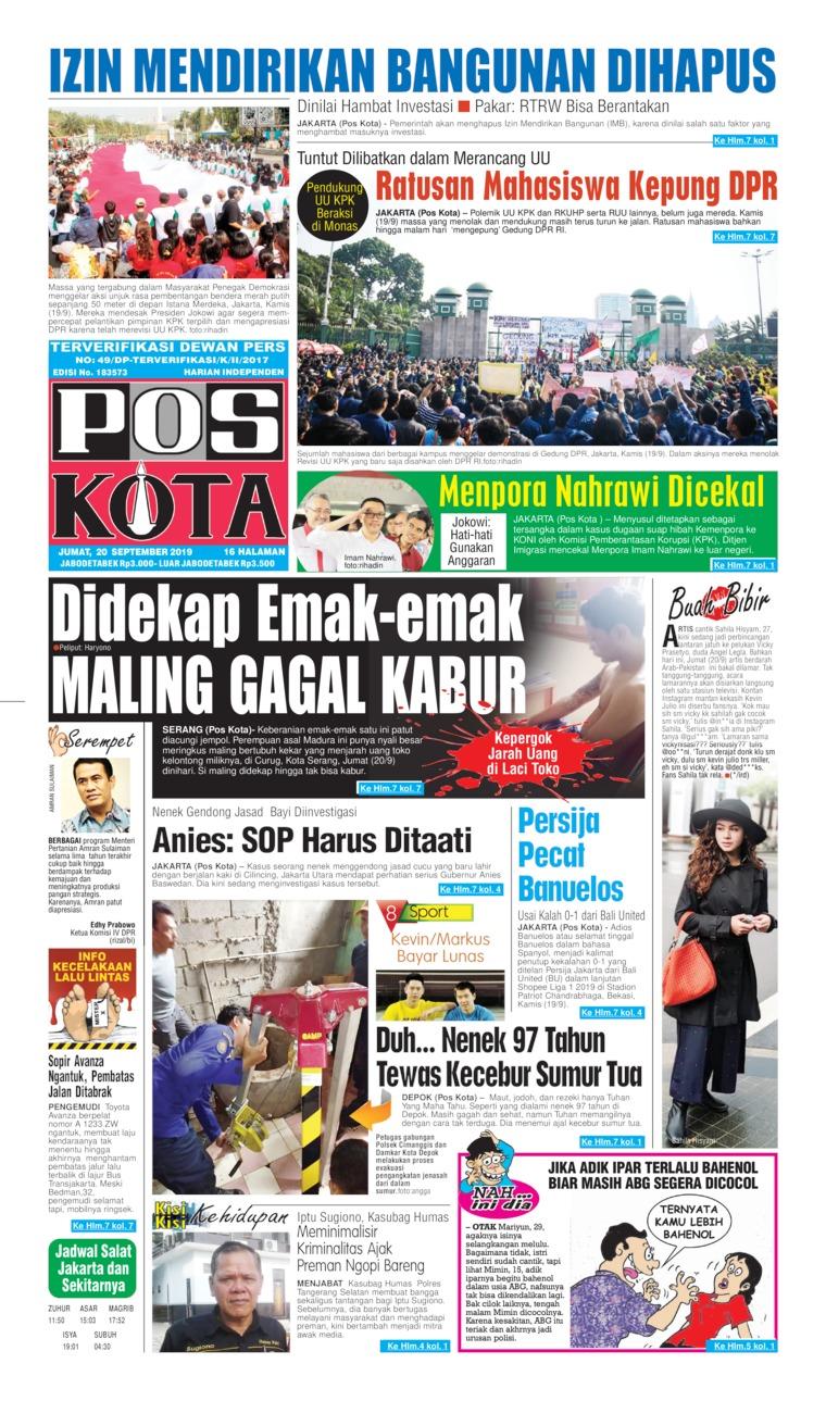 Koran Digital Pos Kota 20 September 2019