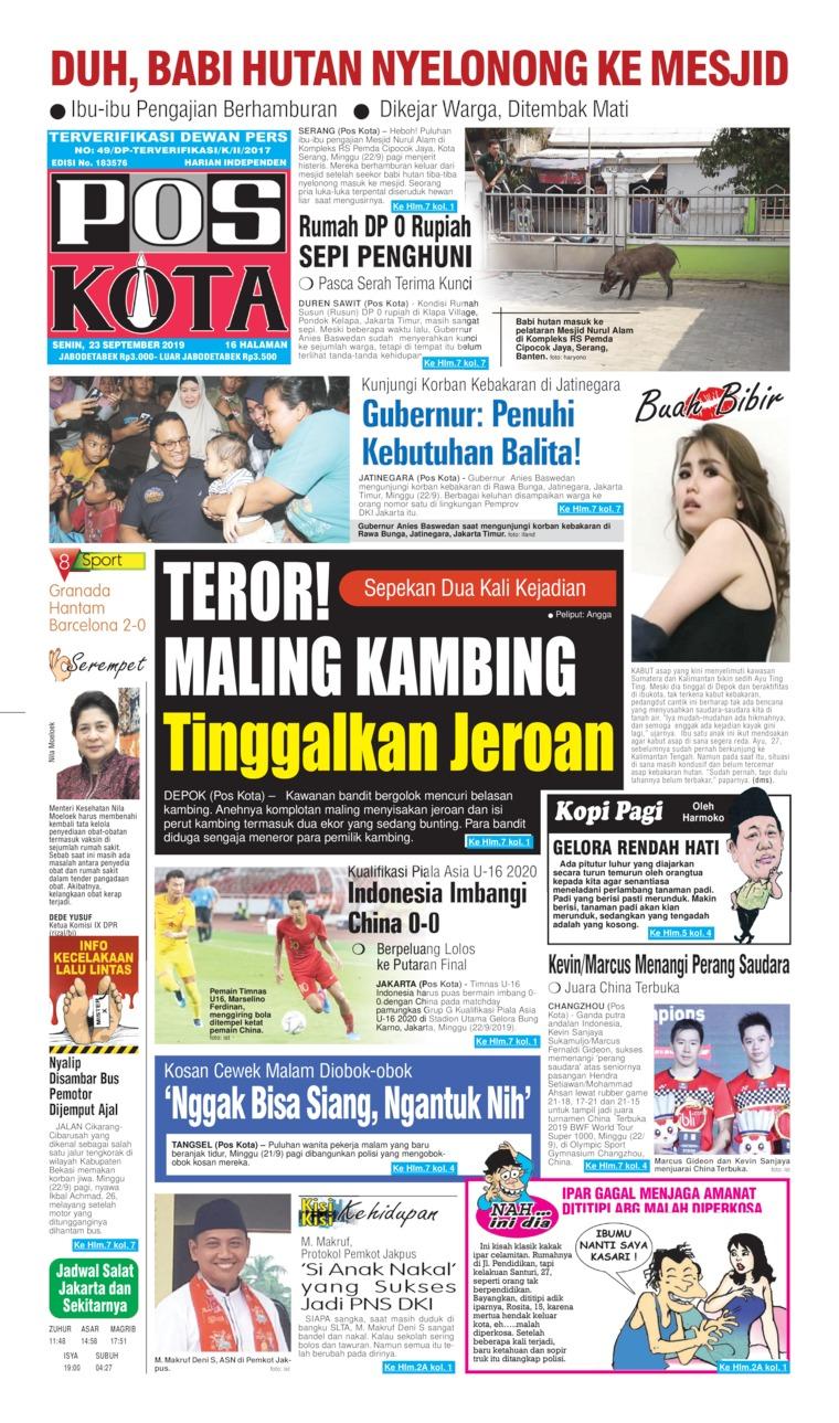 Pos Kota Digital Newspaper 23 September 2019