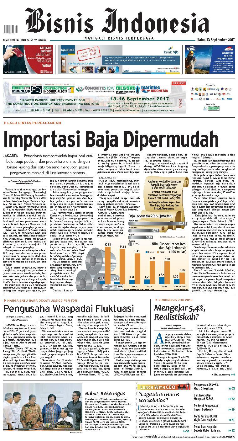 Koran Digital Bisnis Indonesia 13 September 2017