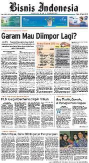 Cover Bisnis Indonesia 14 Maret 2018