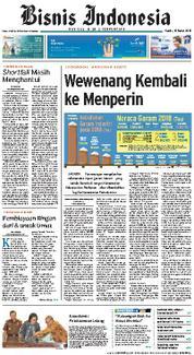 Cover Bisnis Indonesia 15 Maret 2018