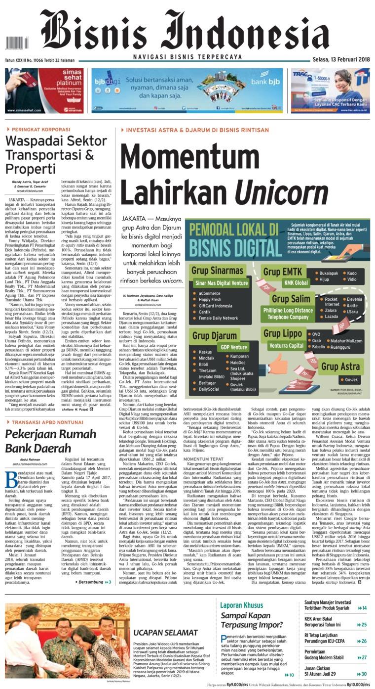 Koran Digital Bisnis Indonesia 13 Februari 2018